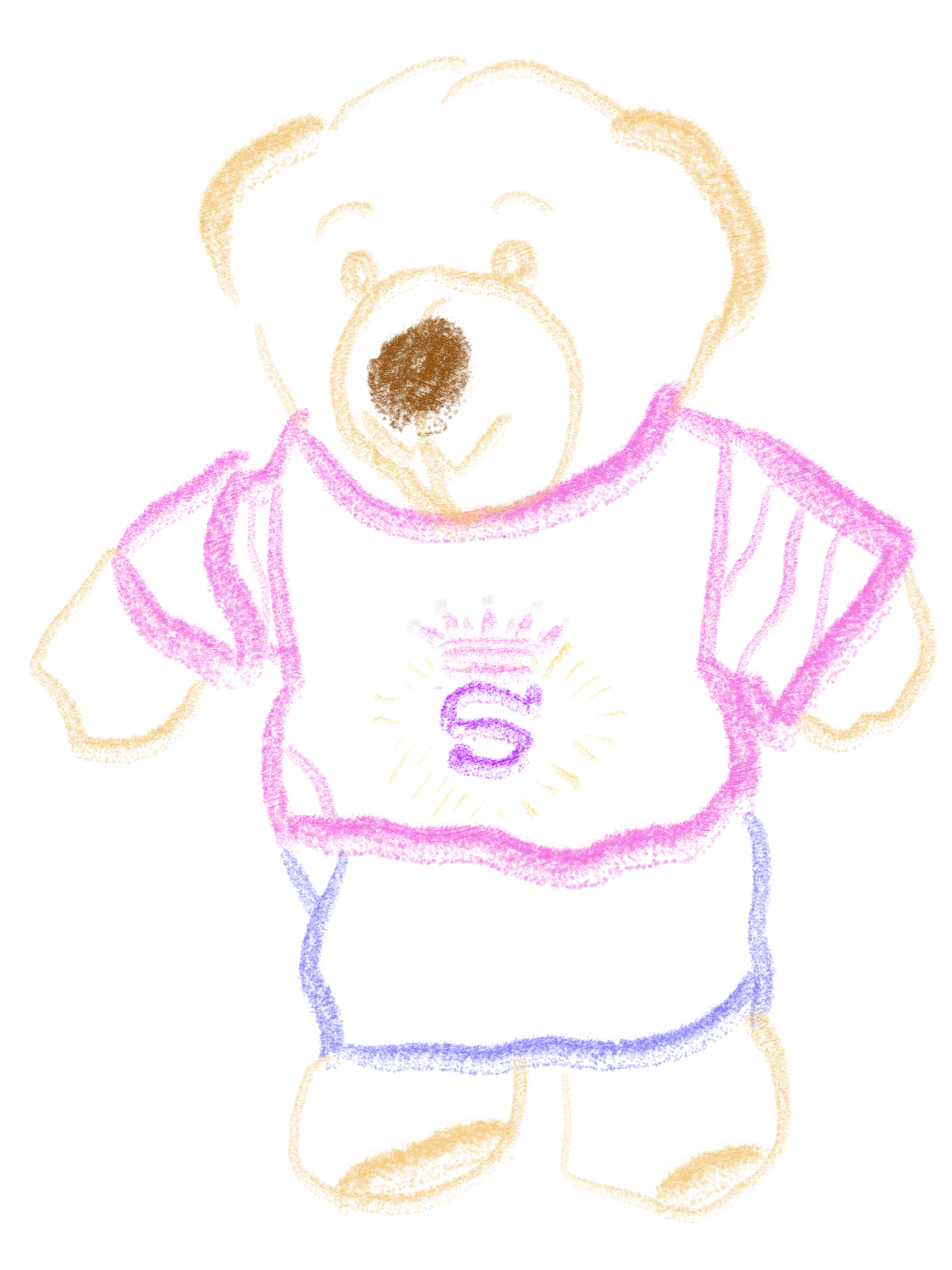 A teddy bear in a pink super-logo shirt and skirt