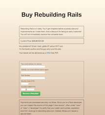 Rebuilding Rails front page, before