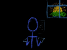 A stick figure types at a keyboard as the sun goes up (or down) in the window behind.