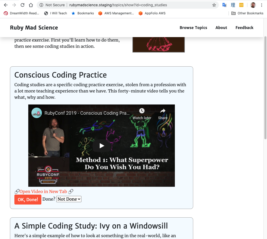 Several steps in a code-teaching topic, including text and videos.