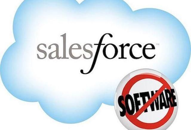 The SalesForce logo - the word SalesForce in a cloud, with the word software below in a red circle-and-slash.