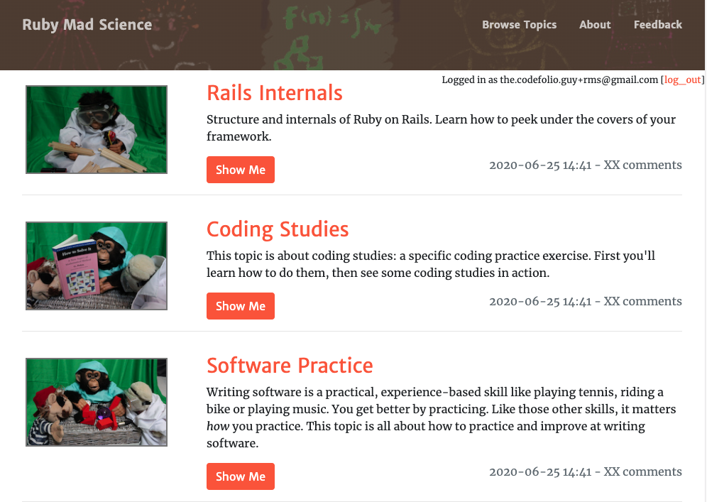 RubyMadScience showing a list of topics on the front page with the new stuffed-animal topic thumbnails.