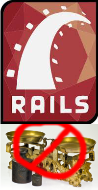 The Rails logo and a scale with a circle-and-slash over top.