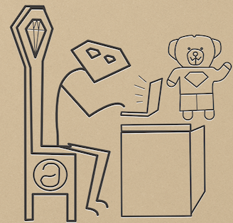 A stick-figure Ruby programmer peers out from his magnificent throne, his teddy bear near to hand.