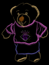 A teddy bear, drawn in chalk and dressed in a t-shirt and jeans.
