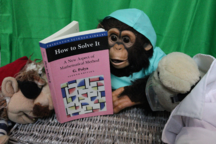 A monkey in nurse's scrubs reads Polya's 'How to Solve It' while a bear and pirate look on.