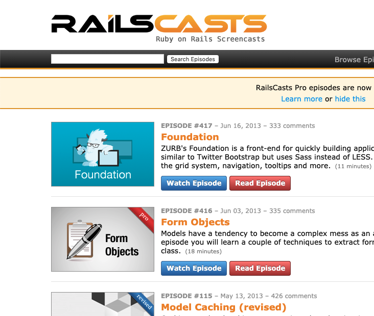 The front page of RailsCasts, showing a list of videos